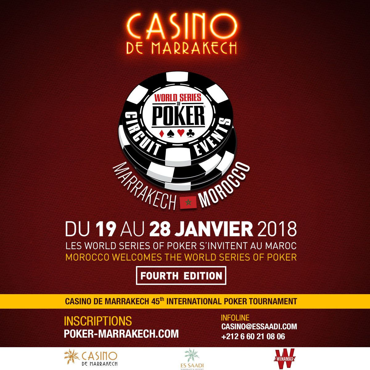 Les world series of poker circuit events débarquent de nouveau au casino de marrakech du 19 au 28 janvier 2018